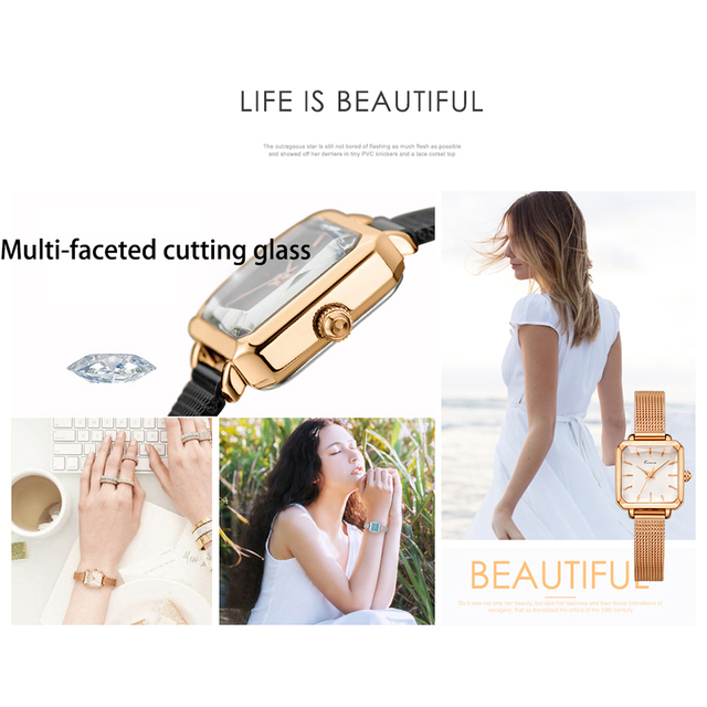 Kimio Women Milanese Mesh Bracelet Watches Ladies Rectangular Multi-faceted Dial Dress Watch For Woman Female Clock With Box