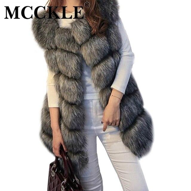 MCCKLE пальто женщин искусственного фокс меховой жилет марка shitsuke fuorrure femme меховые жилеты мода роскошные пил женская куртка жилет весте