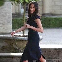 Kate Middleton Same T Station Office OL Dark Blue Women'S 2019 Summer New Fashion One Shoulder Sexy Irregular Party Dress