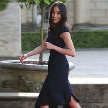 Kate Middleton même Station T, robe mi longue Sexy pour femmes bleu foncé, asymétrique, asymétrique, tenue de fête, nouvelle collection été 2020