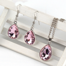 1set Vintage silver Water drop Pendant Necklace & earrings Fashion Jewelry pink