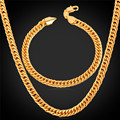 U7 Dubai Gold Plated Jewelry Set For Men Trendy Cuban Link Chain Bracelet Necklace Set African Ethiopian Jewelry S709
