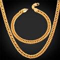 U7 Dubai Gold Plated Jewelry Set For Men Trendy Cuban Link Chain Bracelet Necklace Set African Ethiopian Jewelry S709