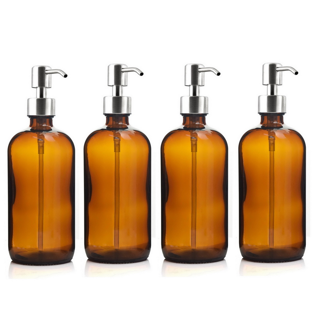 цена 4pcs 16 Oz Amber Glass Boston Round Bottles w/ Stainless Steel Pump for Kitchen Bathroom Liquid Soap Essential oils Lotion 500ml
