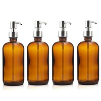 4pcs 500ml Amber Glass Pump Bottle with Stainless Steel Lotion Pump for Bathroom Essential Oils Shampoo Liquid Soap Dispenser