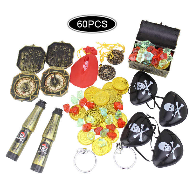 60 stücke Kinder Pirate Schatz Spielzeug Schatz Jagd Spiel Requisiten Piraten Edelstein Gold Münze Pirate kleid up Set spielzeug