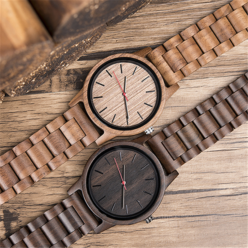 DODO DEER Ultra-thin Natural All Ebony Wood Watches Simple Design Top Brand Simple Men's Watch Japanese Movement For Gift C10