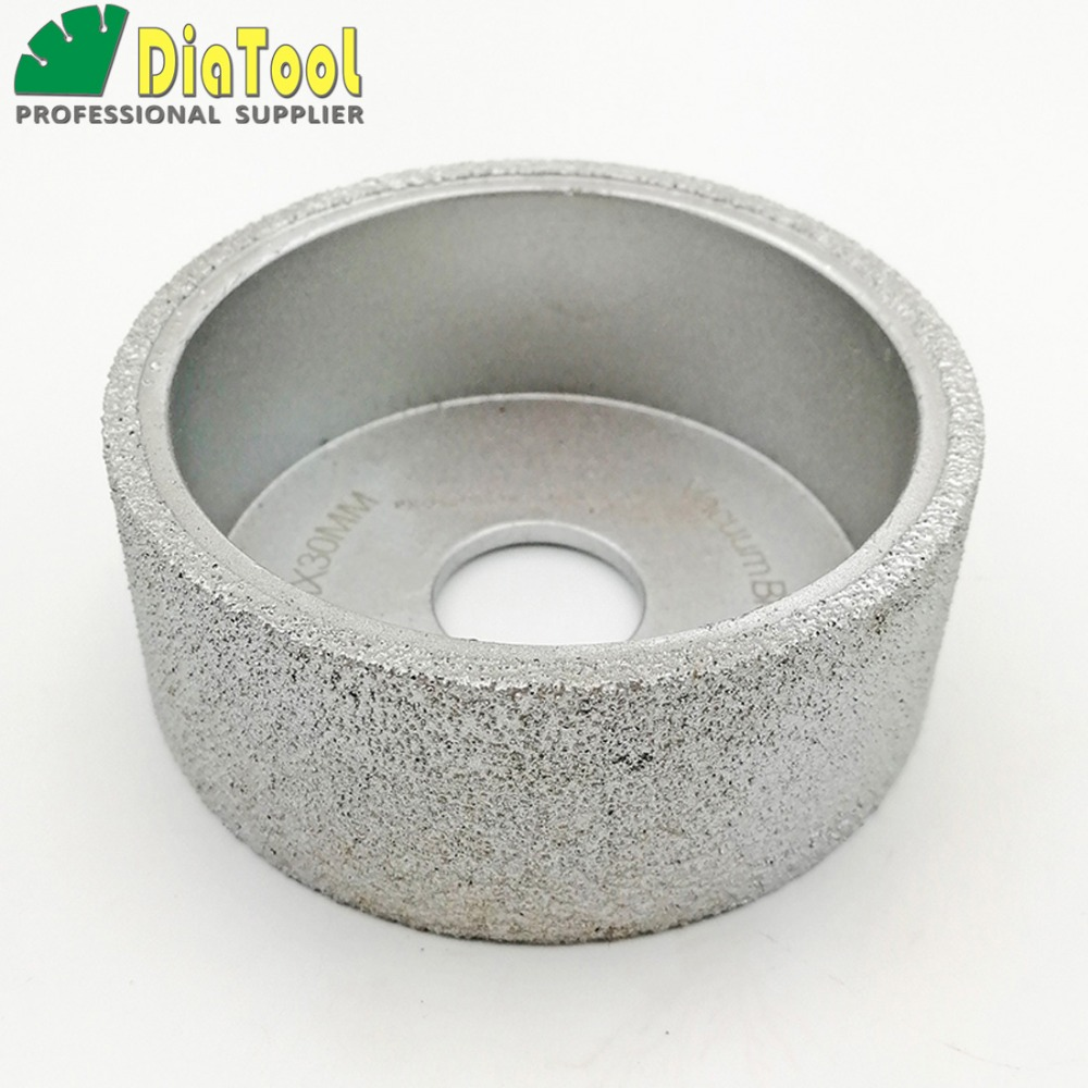DIATOOL Dia75mmX30mm Hand-held Grinding Wheel Vacuum Brazed Diamond Flat Grinding Wheel Profile Wheel For Stone Artificial Stone