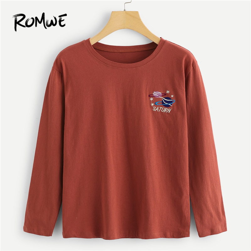 1f277072d6d76 ROMWE Rust Cartoon Planet Embroidery Tee Women Casual Spring Autumn Long  Sleeve Female Clothing Tops Ladies