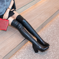 Sexy Tight Thigh High Boots 7CM High Heels Women Pu Winter Snow Shoe Woman Black Leather Over The Knee Boots Long Winter Boot