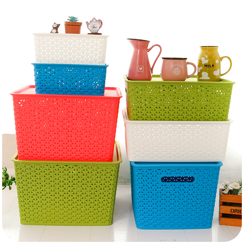 Candy Colored Children S Toys Covered Stackable Plastic Storage Baskets Box Openwork Finishing Bo In Bins From Home