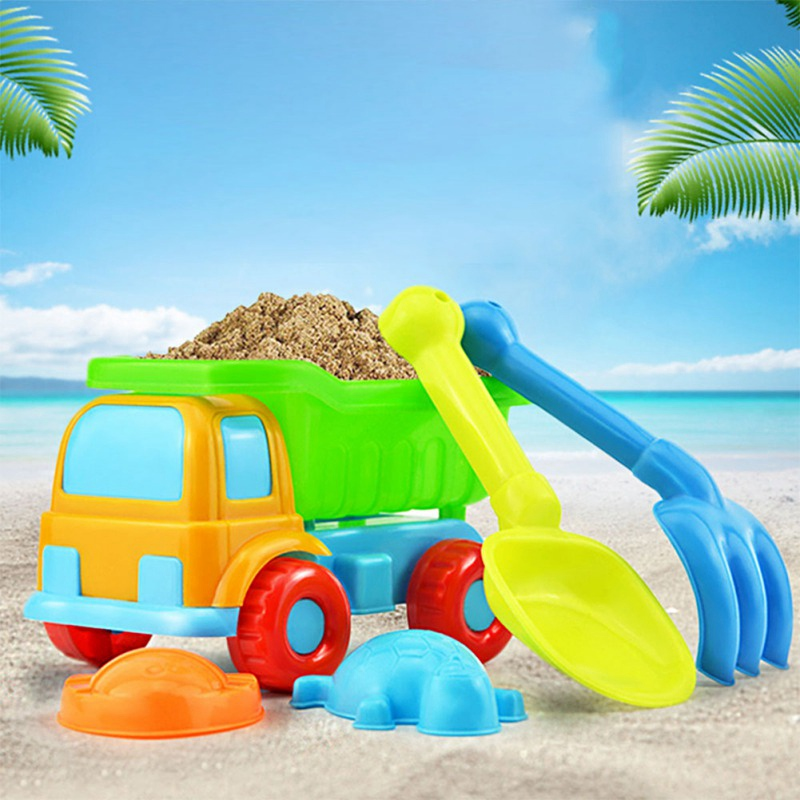 5PCS Kids Beach Toys Dredging Sand Toy Beach Game Medium Plastic Bathing Playing Sandbox Toys Set For Children Toddler