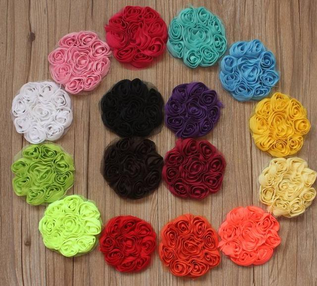 150pcs 8cm Chiffon Rose Flower For Girls Hair Clothing Headbands
