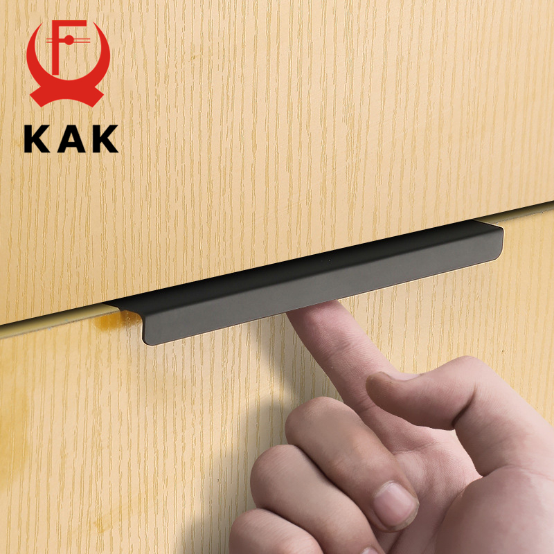 KAK Fashion Black Hidden Cabinet Handles Zinc Alloy Kitchen Cupboard Pulls Drawer Knobs Furniture Bedroom Door Handle Hardware