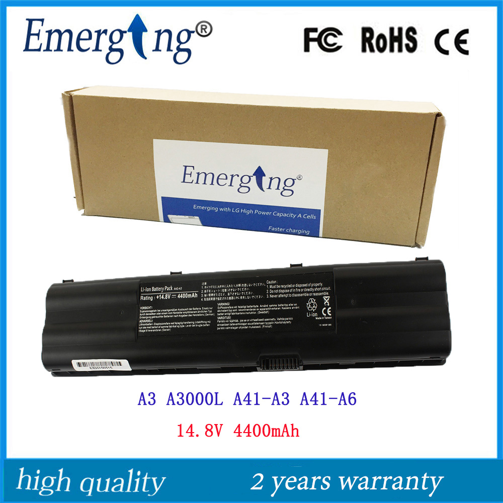 8cells 14.8v 4400mah Japanese Cell New Laptop Battery for <font><b>ASUS</b></font> A3 <font><b>A3000</b></font> A3000L A3500L A38N A3E A3G A3L A6 A41-A3 A41-A6 image