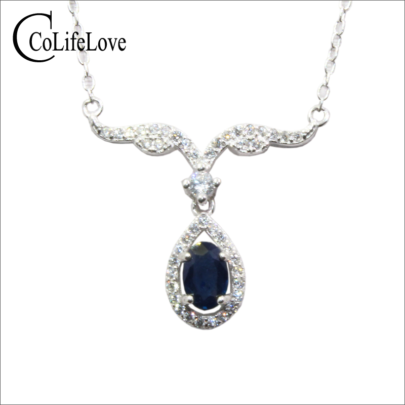 CoLife Jewelry Natural Sapphire Necklace for Party 0 5ct Dark Navy Blue Sapphire Necklace 925 Silver