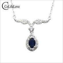 CoLife collier en saphir naturel, bijou pour fête, 925 ct, bleu marine foncé, balançoire en argent, pendentif pour fête