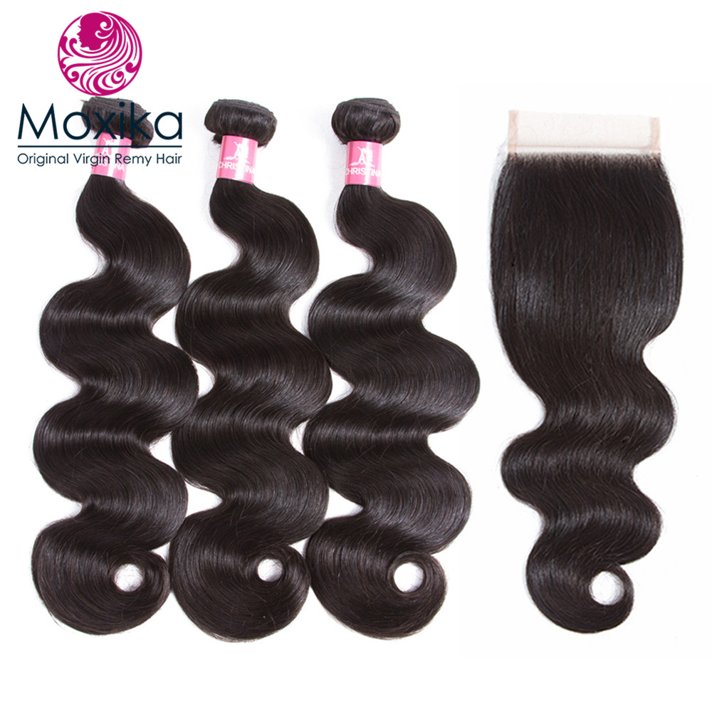 Moxika Indian Virgin Hair Body Wave 3 Bundles with Closure 4pcs lot Unprocessed Virgin Hair Weaves