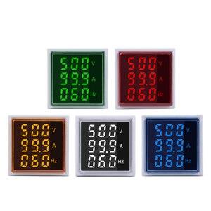 Digital LED Volt Amp HZ AC Ammeter Voltmeter Current Frequency Voltage Indicator Meter Tester Signal Lights 60-500V 100A 20-75Hz