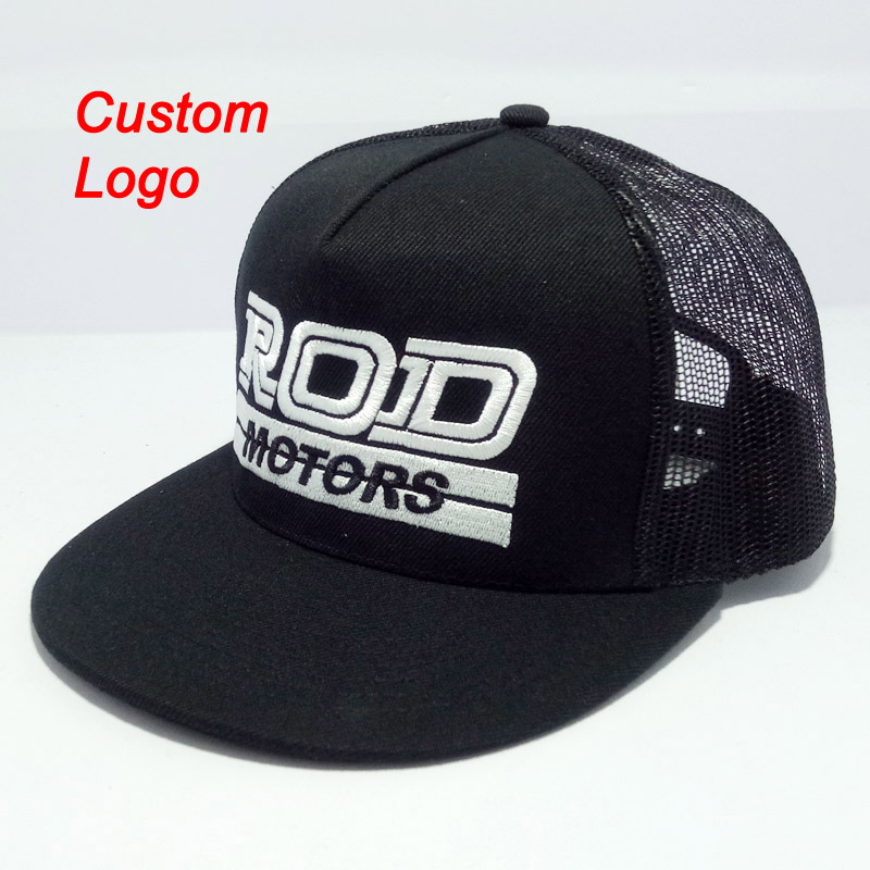 Custom hat OEM logo unisex sizable youth adult snapback adjustable sizeable closing mesh back tennis trucker cap