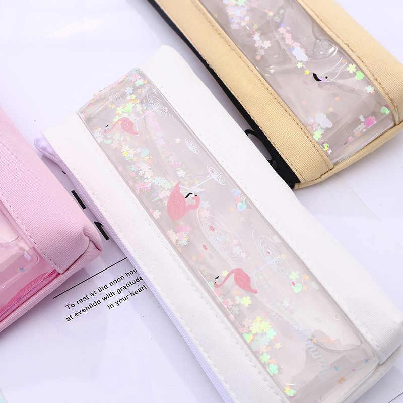1pcs/1lot Pcs  Pencil Case Flamingo into the oil Estuches School Pencil Box Pencilcase Pencil Bag School Supplies Stationery
