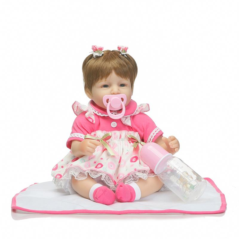 40cm Silicone Reborn Baby Doll Toys for Girls 18 Lifelike Reborn Babies Play House Toy Kids Child Birthday Gifts Bonecas Dolls soft silicone reborn baby dolls toys for girls lifelike birthday present gifts cute newborn boy babies bedtime play house toy
