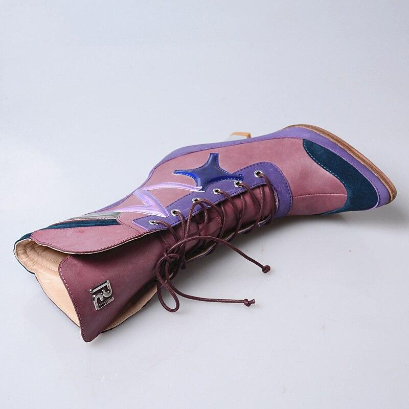 coffee Hiver Plush Main Pompes Femme Short Leaather Mode Courtes coffee Leather purple Véritable Chaussures Lacet Talons In Femmes Up Automne Bottines À De Cuir Purple La Pour Hauts Mabaiwan In Plush En q6vfCSUw