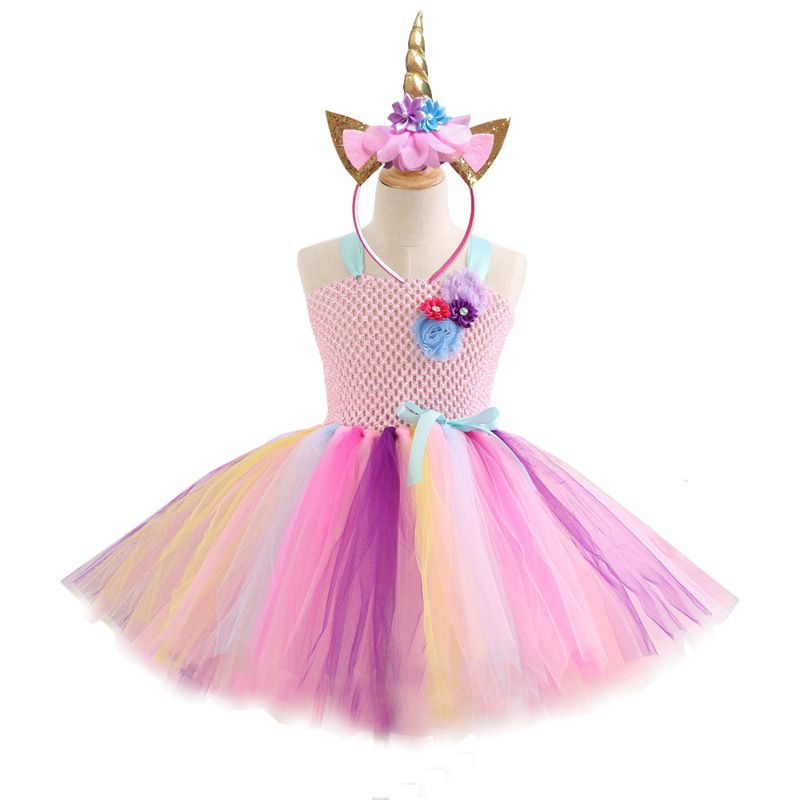 Flower Girls Unicorn Dress Pageant Princess Party Dress for Kids Christmas New Year Easter Carnival Cosplay Dress Girls Dress in Dresses from Mother Kids
