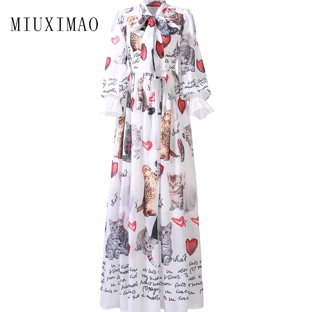 Custom Plus Taille Robe S-7XL 2017 Sping Date Mignon Stand Neck Pleine Flare Manches Chat Imprimer Élégant Cheville-Longueur longue Robe Femmes