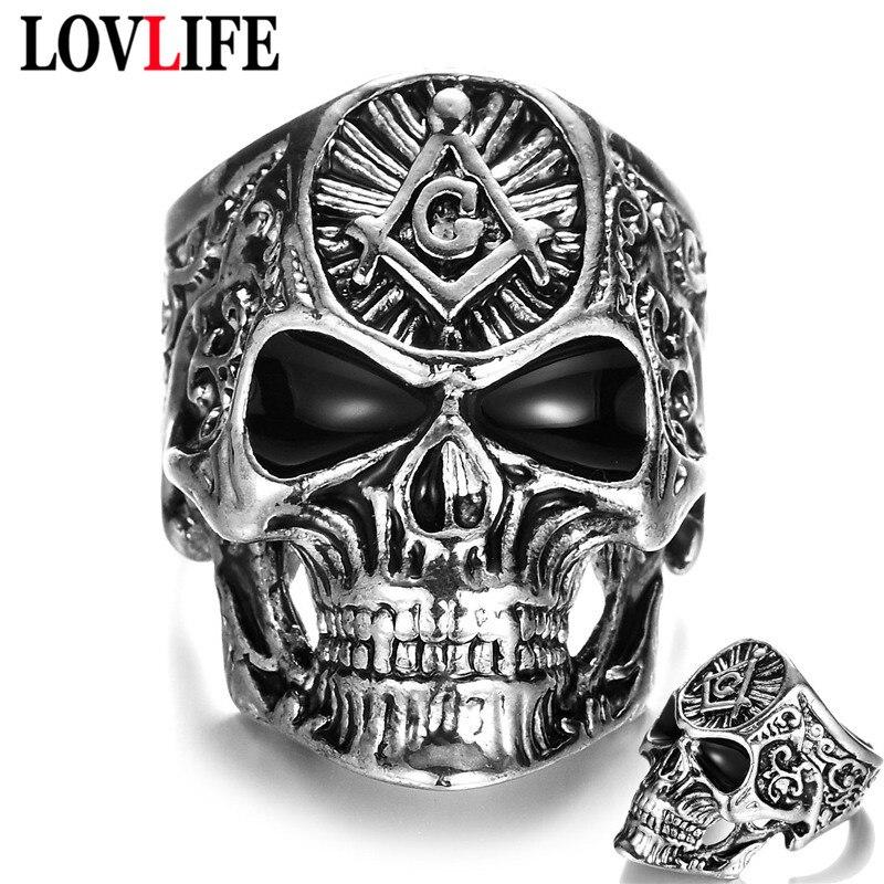 Vintage Charm Mason Freemason Masonic Skull Rings Rock Hip Hop Punk Alloy Ghost Head Black Silver Men Ring Fashion Hand Jewelry
