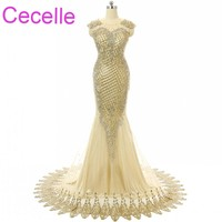Champagne Mermaid Long Prom Dresses 2018 Jewel Neck Gold Lace Women Elegant Formal Evening Party Dress Sparkly Night Prom Gowns