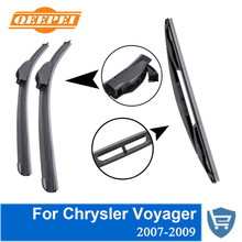 QEEPEI Front and Rear Wiper Blade no Arm For Chrysler Voyager 2007-2009 High quality Natural Rubber windscreen 26''+26''