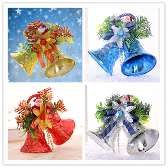 wholesale 2015 creative kid gifts plastic christmas bells golden red sliver blue ornaments home party shop