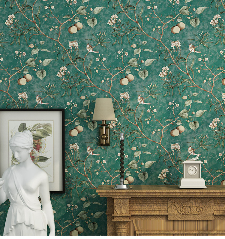 American Bedroom Wall Covering Modern Vintage Floral 3D Non-woven Mural Wallpaper Tree Birds Wall Paper Papel De Parede