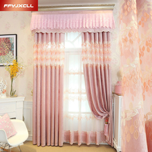 Lace Embroidered Valance Decoration Pink Cloth Curtain For living Room Bedroom Window Treatment Drapes Tulle Custom Made