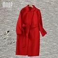 Designer de inverno casaco de lã de camelo vermelho marinha sólidos longo de lã cashmere casacos abrigos mujer invierno manteau femme 2016 LT893
