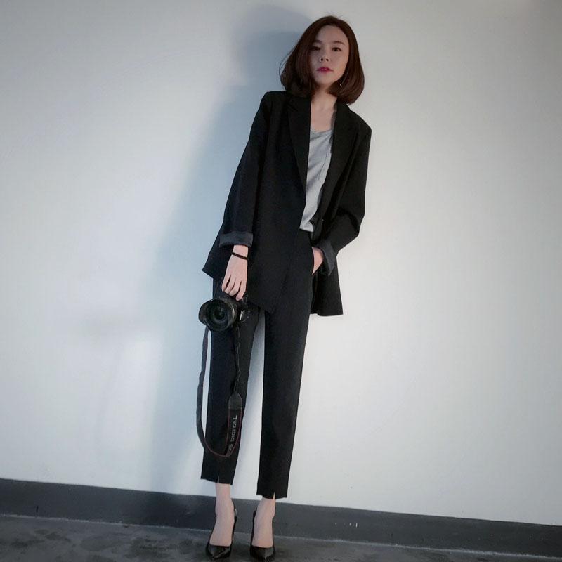 Travail Pièce Tenues Noir Pantalons Lady Pantalon Mode 1 Veste Ensembles Blazer 2018 Costume Droit Et 2 Nouvelle Costumes Femmes Office BxEwITqBA