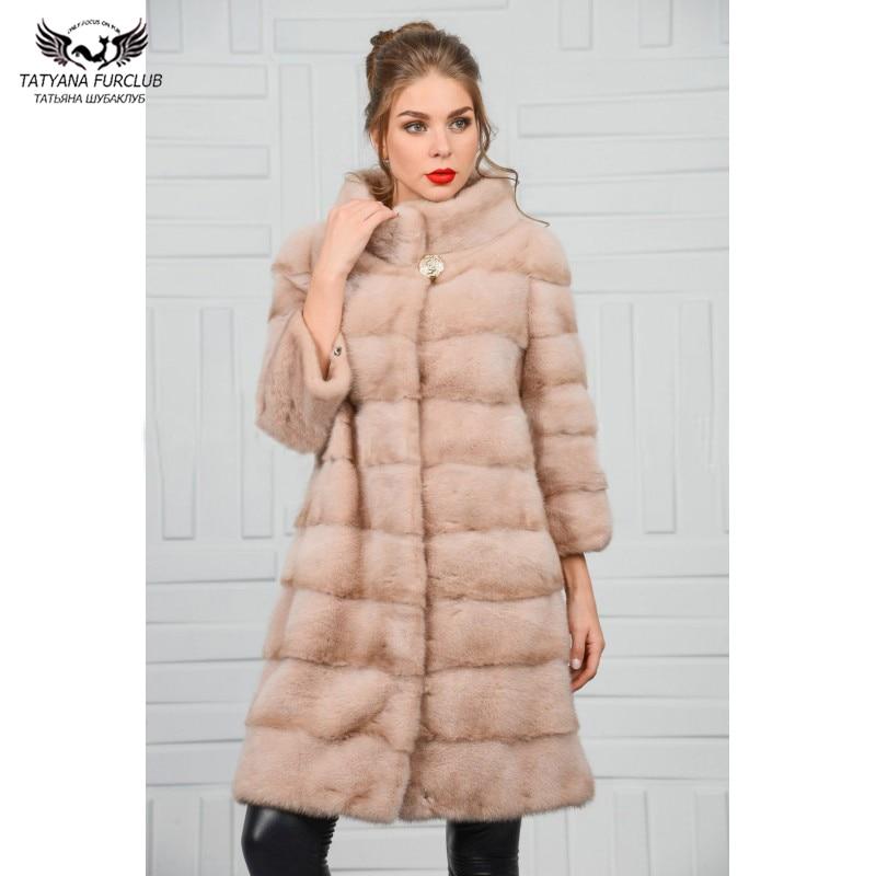 FURCLUB 2018 New Arrival Whole Skin Genuine Mink Fur Coat Women With Mandarin Collar Long Style Natural Winter Mink Fur Outwear