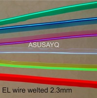 2 3mm Free Shipping Sewable Welt El Wire Glowing Strobe Wire 20m Flexible Neon Welted Cable