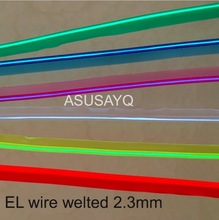 2.3mm  free shipping sewable welt el wire glowing strobe wire 20m flexible neon welted cable with 12 inverter/driver for car