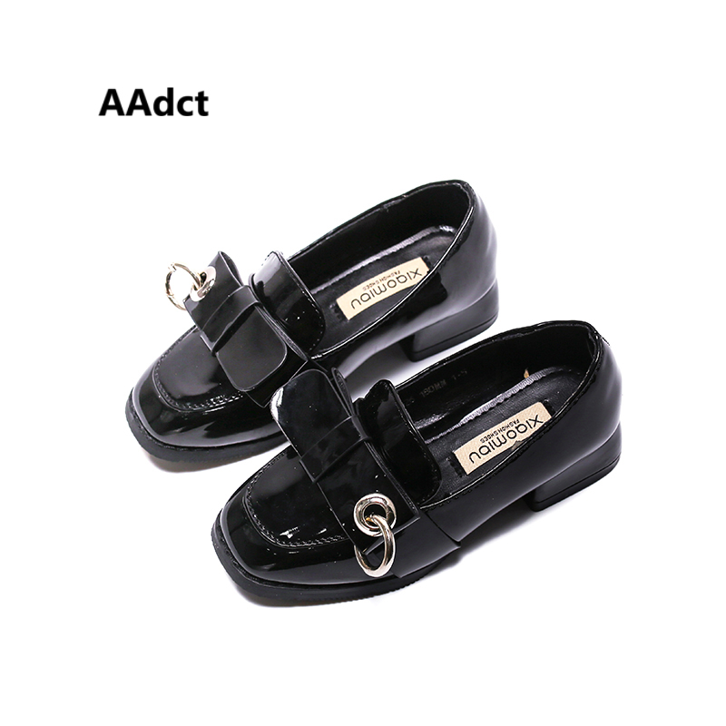 AAdct High-heeled kids shoes for girls 2018 new fashion Metal ring Patent leather princess girls shoes All-match children shoes