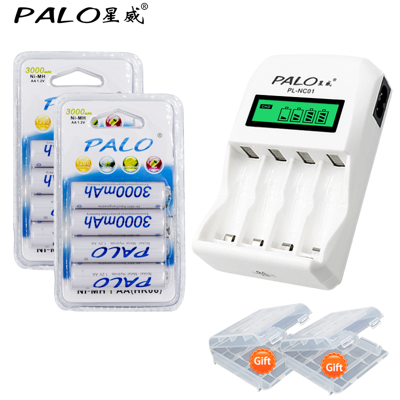 Smart LCD Indicator 4 Cell Battery Charger 8pcs AA 3000mah NiMh Battery