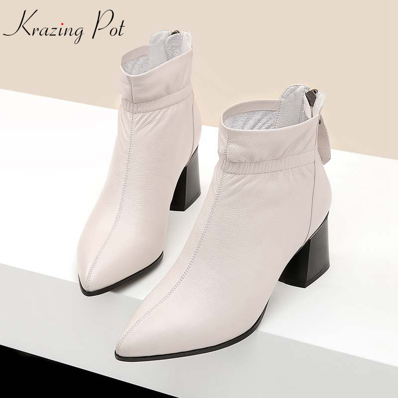 Krazing Pot new genuine leather pleated decoration boots handmade 6cm high heel simple style pointed to Western ankle boots L3f9Krazing Pot new genuine leather pleated decoration boots handmade 6cm high heel simple style pointed to Western ankle boots L3f9