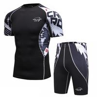 Men Men Compression Shirt Base Short Sleeve Side 3D Print Hot Bottom MMA Rashguard Tights Leather