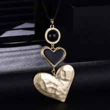 2 Love Hearts Pendant Necklaces For Women Big Punk Gothic Unique Personality Exaggeration Choker Necklaces Jewelry collier femme(China)