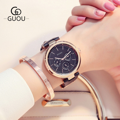 c1c381ef108d GUOU Brand Luxury Quartz Women Watches Fashion Three eyes Sport Ladies  Leather watch Relogio Feminino for Female Wrist Watches