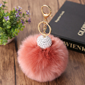 Porte Clef Pompom 15 Colors 10CM Fox Fur Ball Keychain For Bag Plush Car Key Ring Car Key Pendant With Shambhala Beads