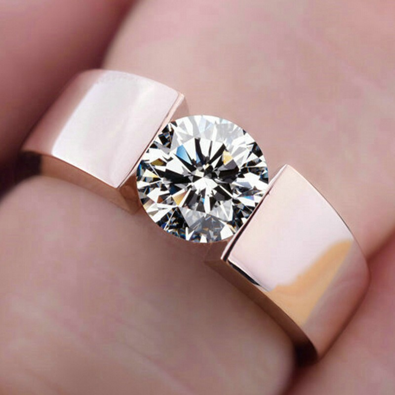Free shipping Engagement Ring rose Gold Plated S925 Simulated