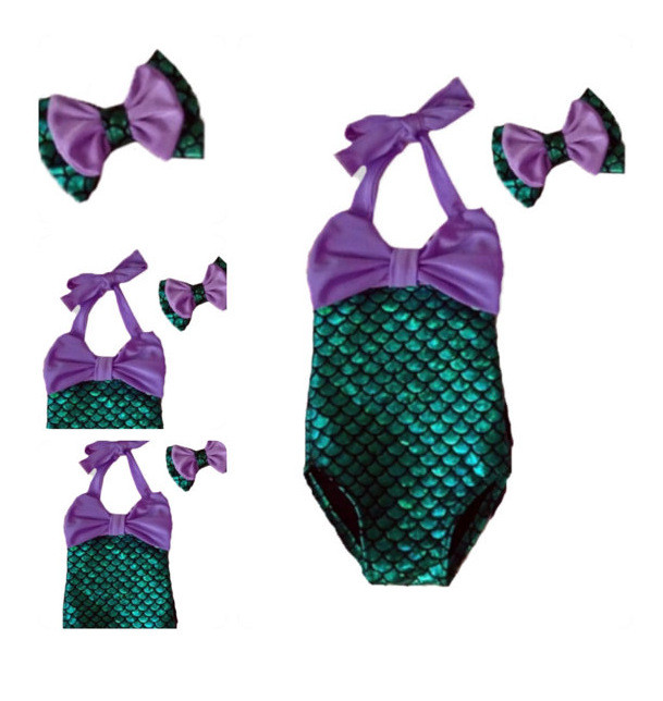 10dd3db18786 2017 Toddler Baby Mermaid Swimsuit Baby Kids Toddler Bikini Geen Purple  Suit With Headband Child Bathing Suits Toddler Swimwear-in Matching Family  Outfits ...
