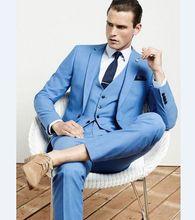 2019 Fashion Mens Slim Fit Business Suit Mens Custom Made Notch Lapel Tuxedo One Button Suits 3 Pieces Set Jacket Vest Pant